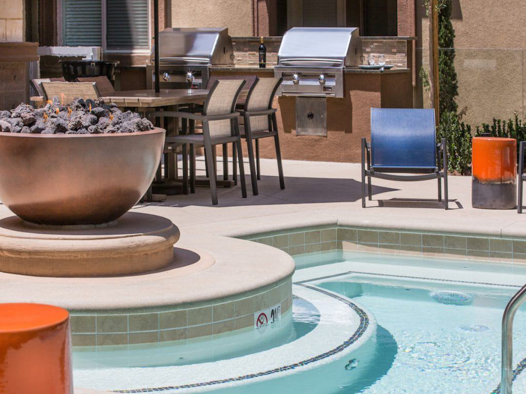 Poolside at Aria Apartments in Cerritos